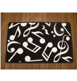 NON SLIP MUSIC MATS MUSIC NOTES 50x80CM BLACK/WHITE NEW WASHABLE DOORMATS